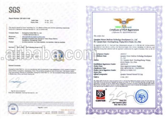 giấy chứng nhận đạt kết quả cao nhất về sản phẩm